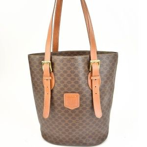 CELINE: Brown, Monogram Macadam & Leather Tote mz